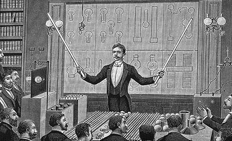 Nikola Tesla delivering a lecture to the French Physical Society and The International Society of Electricians in the 1880s.